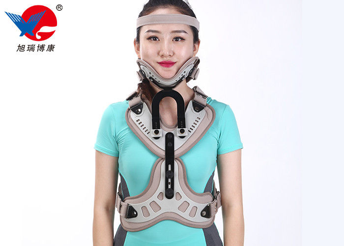 Adjustable Head Neck Chest Medical Orthosis With Aluminum Alloy And Plastic Plate